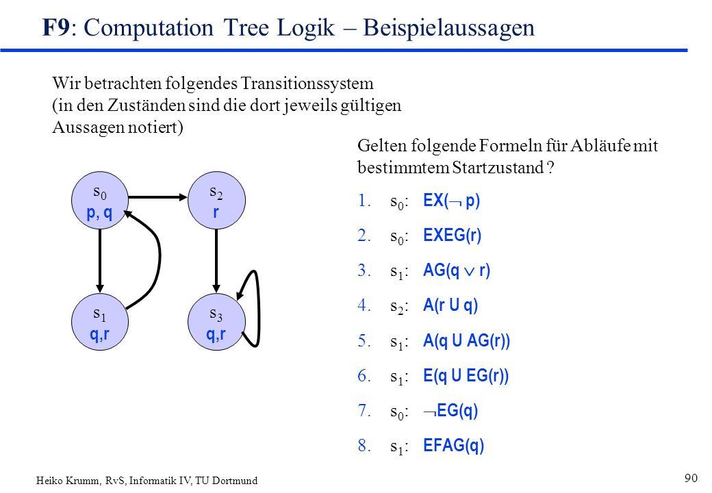 Heiko Krumm, RvS, Informatik IV, TU Dortmund 90 F9: Computation Tree Logik – Beispielaussagen s 0 p, q s2rs2r s 1 q,r s 3 q,r Wir betrachten folgendes Transitionssystem (in den Zuständen sind die dort jeweils gültigen Aussagen notiert) Gelten folgende Formeln für Abläufe mit bestimmtem Startzustand .