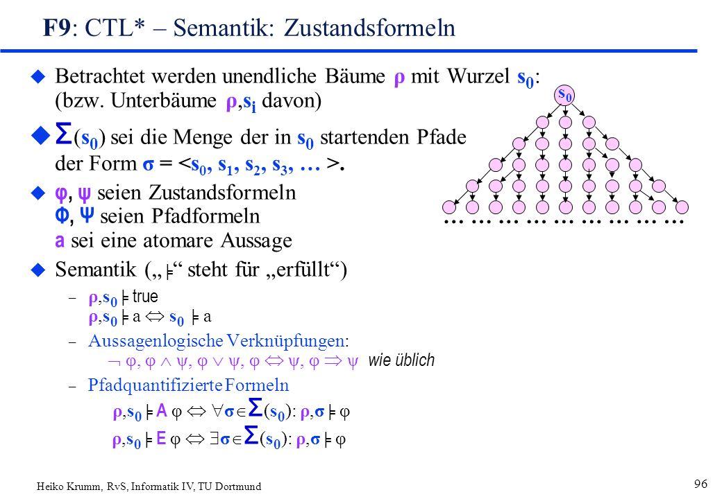 Heiko Krumm, RvS, Informatik IV, TU Dortmund 96 F9: CTL* – Semantik: Zustandsformeln u Betrachtet werden unendliche Bäume ρ mit Wurzel s 0 : (bzw.