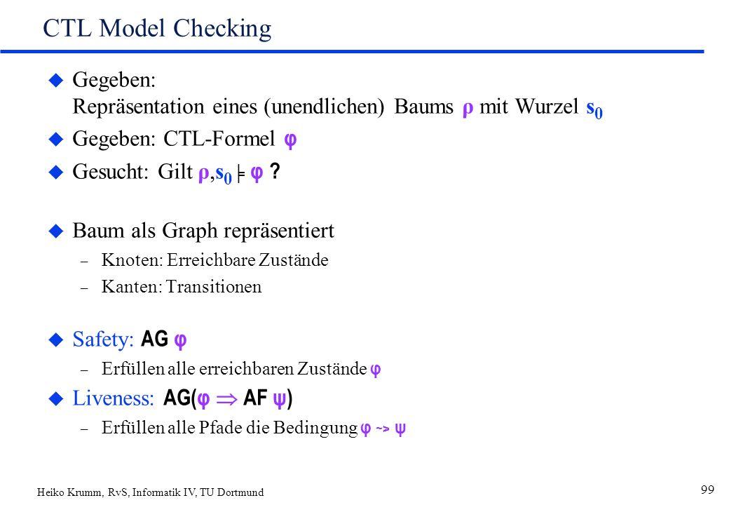 Heiko Krumm, RvS, Informatik IV, TU Dortmund 99 CTL Model Checking u Gegeben: Repräsentation eines (unendlichen) Baums ρ mit Wurzel s 0  Gegeben: CTL-Formel φ  Gesucht: Gilt ρ,s 0 ╞ φ .