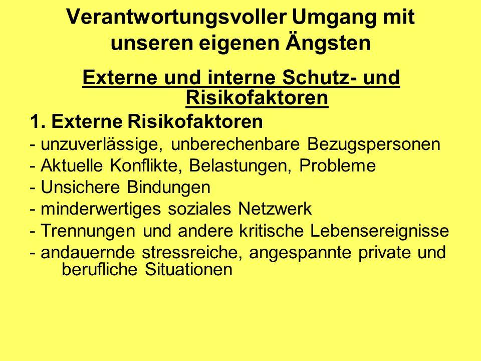 Verantwortungsvoller Umgang mit unseren eigenen Ängsten Externe und interne Schutz- und Risikofaktoren 1.