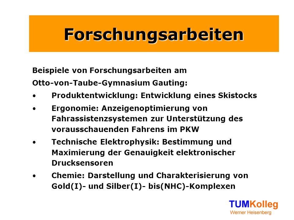 Forschungsarbeiten Beispiele von Forschungsarbeiten am Otto-von-Taube-Gymnasium Gauting: Produktentwicklung: Entwicklung eines Skistocks Ergonomie: An