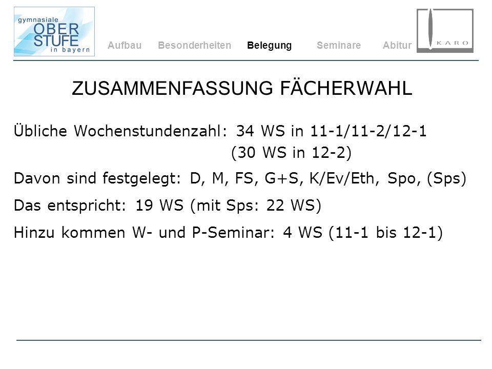 AufbauBesonderheitenBelegungSeminareAbitur Übliche Wochenstundenzahl: 34 WS in 11-1/11-2/12-1 (30 WS in 12-2) Davon sind festgelegt: D, M, FS, G+S, K/