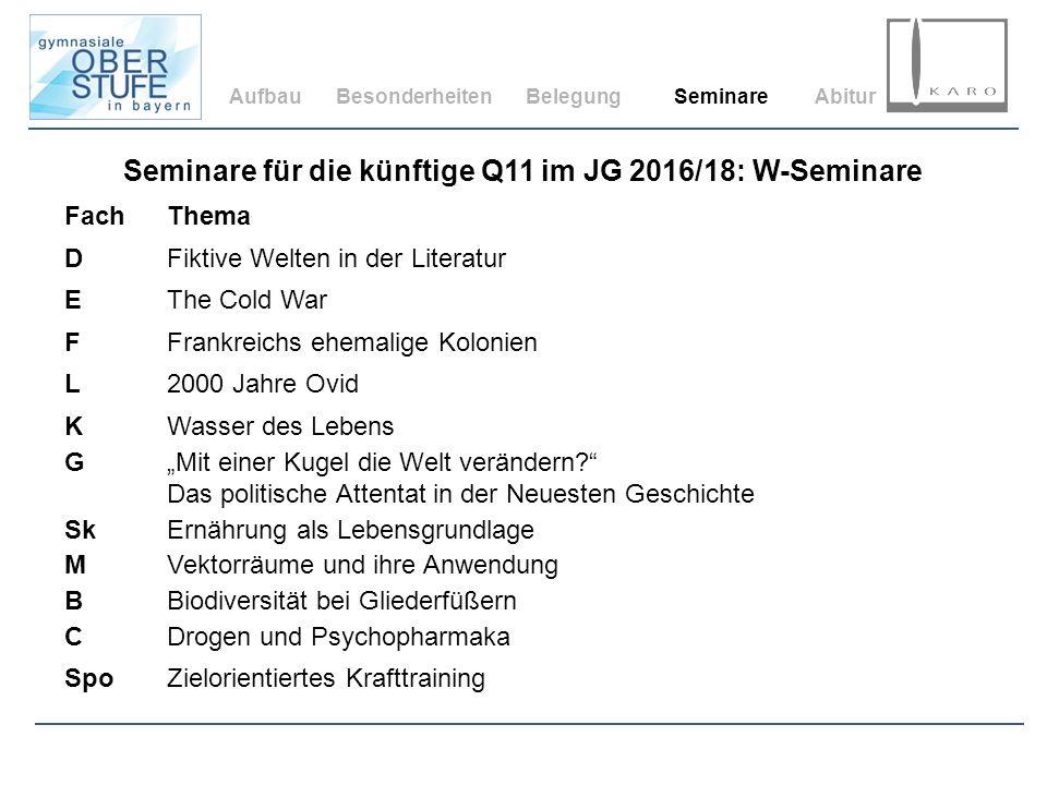 AufbauBesonderheitenBelegungSeminareAbitur Seminare für die künftige Q11 im JG 2016/18: W-Seminare FachThema DFiktive Welten in der Literatur EThe Col
