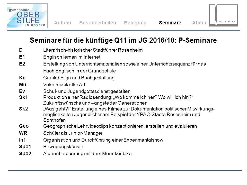 AufbauBesonderheitenBelegungSeminareAbitur Seminare für die künftige Q11 im JG 2016/18: P-Seminare DLiterarisch-historischer Stadtführer Rosenheim E1E