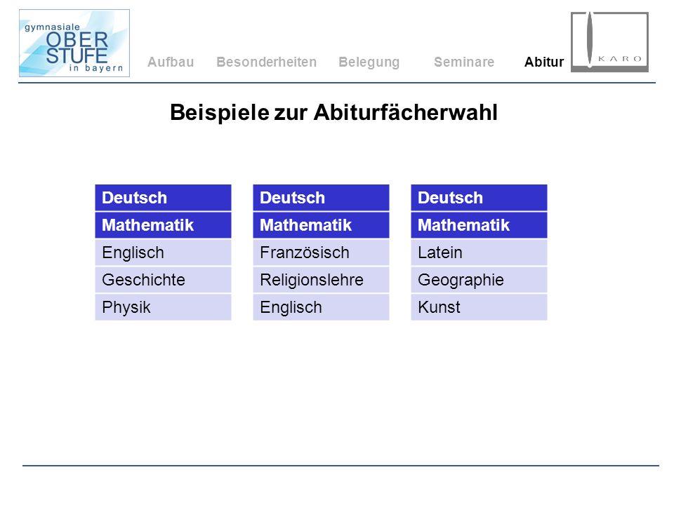 AufbauBesonderheitenBelegungSeminareAbitur Beispiele zur Abiturfächerwahl Deutsch Mathematik Englisch Geschichte Physik Deutsch Mathematik Französisch