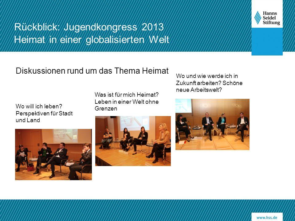 Rückblick: Jugendkongress 2013 Heimat in einer globalisierten Welt Wo will ich leben? Perspektiven für Stadt und Land Was ist für mich Heimat? Leben i