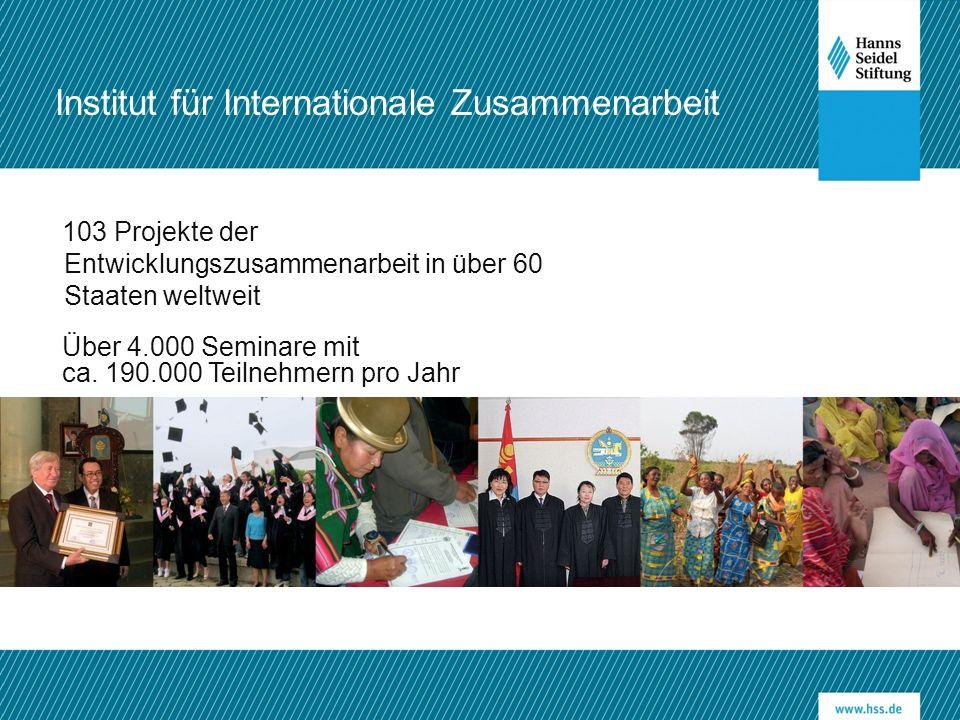 103 Projekte der Entwicklungszusammenarbeit in über 60 Staaten weltweit Über 4.000 Seminare mit ca. 190.000 Teilnehmern pro Jahr Institut für Internat