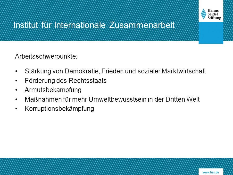 Arbeitsschwerpunkte: Stärkung von Demokratie, Frieden und sozialer Marktwirtschaft Förderung des Rechtsstaats Armutsbekämpfung Maßnahmen für mehr Umweltbewusstsein in der Dritten Welt Korruptionsbekämpfung Institut für Internationale Zusammenarbeit