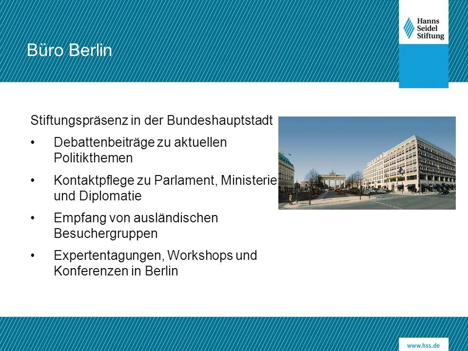 Stiftungspräsenz in der Bundeshauptstadt Debattenbeiträge zu aktuellen Politikthemen Kontaktpflege zu Parlament, Ministerien und Diplomatie Empfang von ausländischen Besuchergruppen Expertentagungen, Workshops und Konferenzen in Berlin Büro Berlin