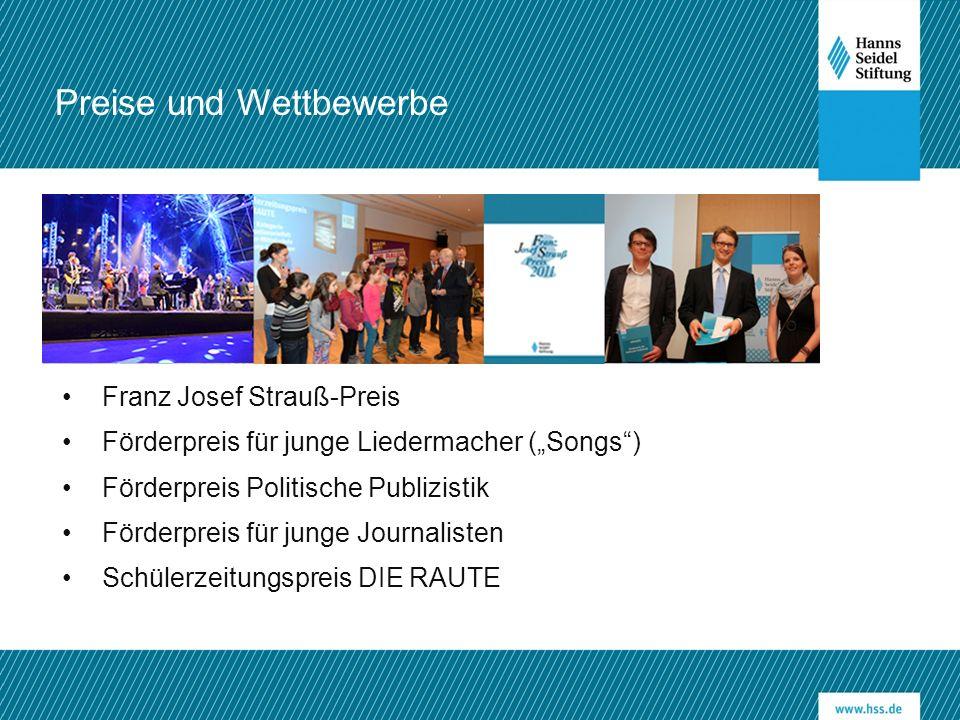 """Franz Josef Strauß-Preis Förderpreis für junge Liedermacher (""""Songs"""") Förderpreis Politische Publizistik Förderpreis für junge Journalisten Schülerzei"""