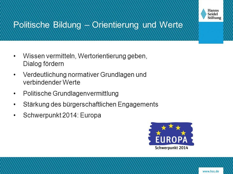 Wissen vermitteln, Wertorientierung geben, Dialog fördern Verdeutlichung normativer Grundlagen und verbindender Werte Politische Grundlagenvermittlung Stärkung des bürgerschaftlichen Engagements Schwerpunkt 2014: Europa Politische Bildung – Orientierung und Werte