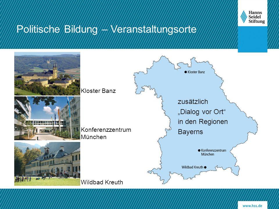 """Politische Bildung – Veranstaltungsorte zusätzlich """"Dialog vor Ort"""" in den Regionen Bayerns Kloster Banz Wildbad Kreuth Konferenzzentrum München"""