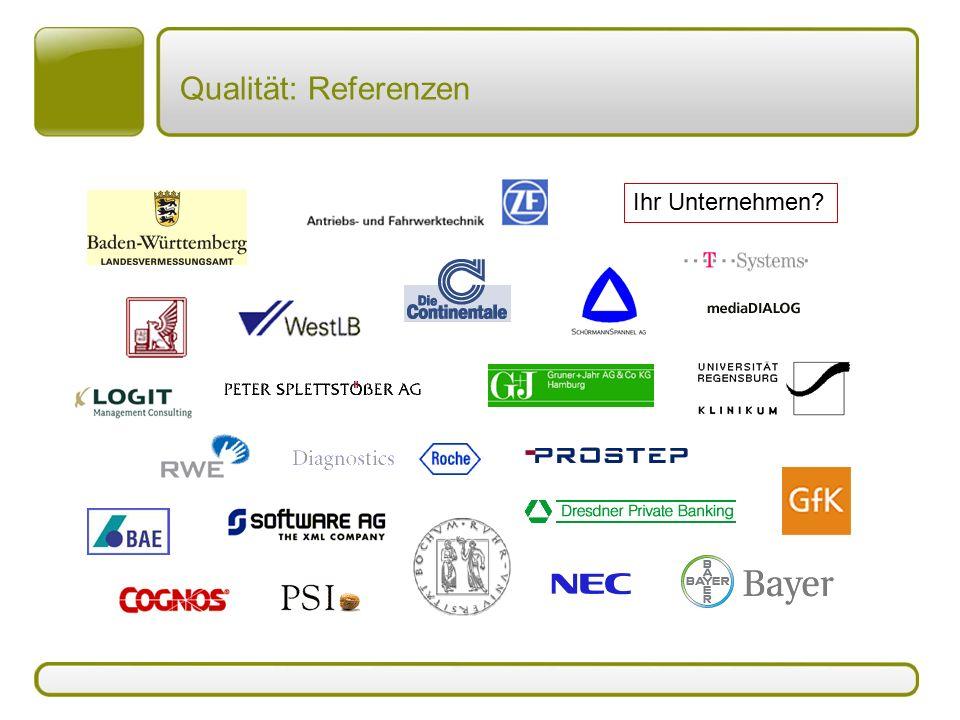 Qualität: Referenzen Ihr Unternehmen?