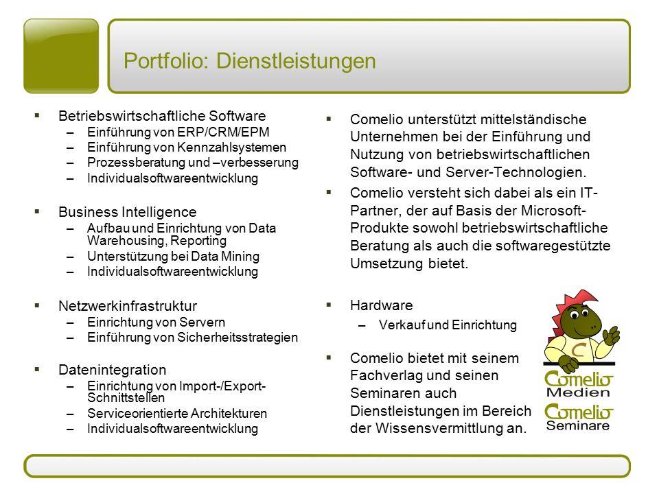 Portfolio: Dienstleistungen  Betriebswirtschaftliche Software –Einführung von ERP/CRM/EPM –Einführung von Kennzahlsystemen –Prozessberatung und –verb