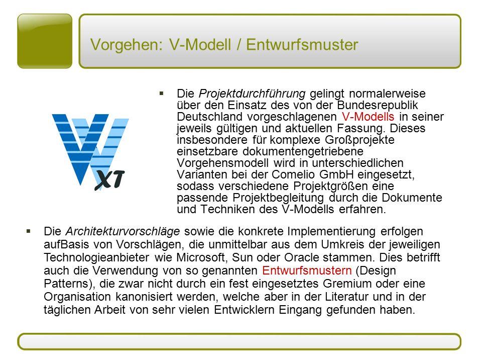 Vorgehen: V-Modell / Entwurfsmuster  Die Projektdurchführung gelingt normalerweise über den Einsatz des von der Bundesrepublik Deutschland vorgeschla