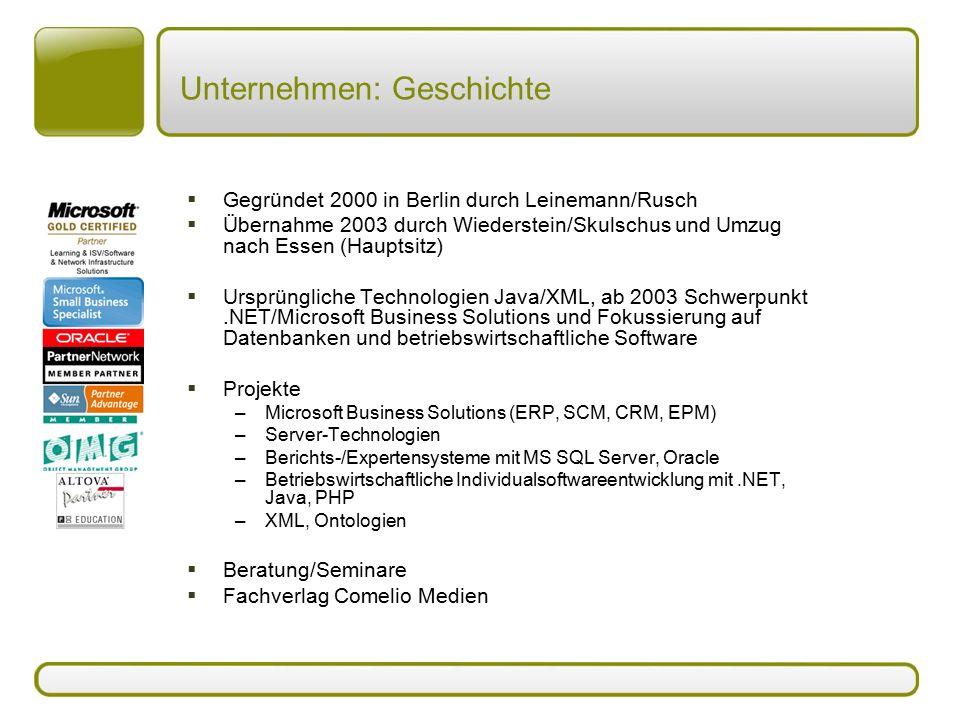 Unternehmen: Geschichte  Gegründet 2000 in Berlin durch Leinemann/Rusch  Übernahme 2003 durch Wiederstein/Skulschus und Umzug nach Essen (Hauptsitz)
