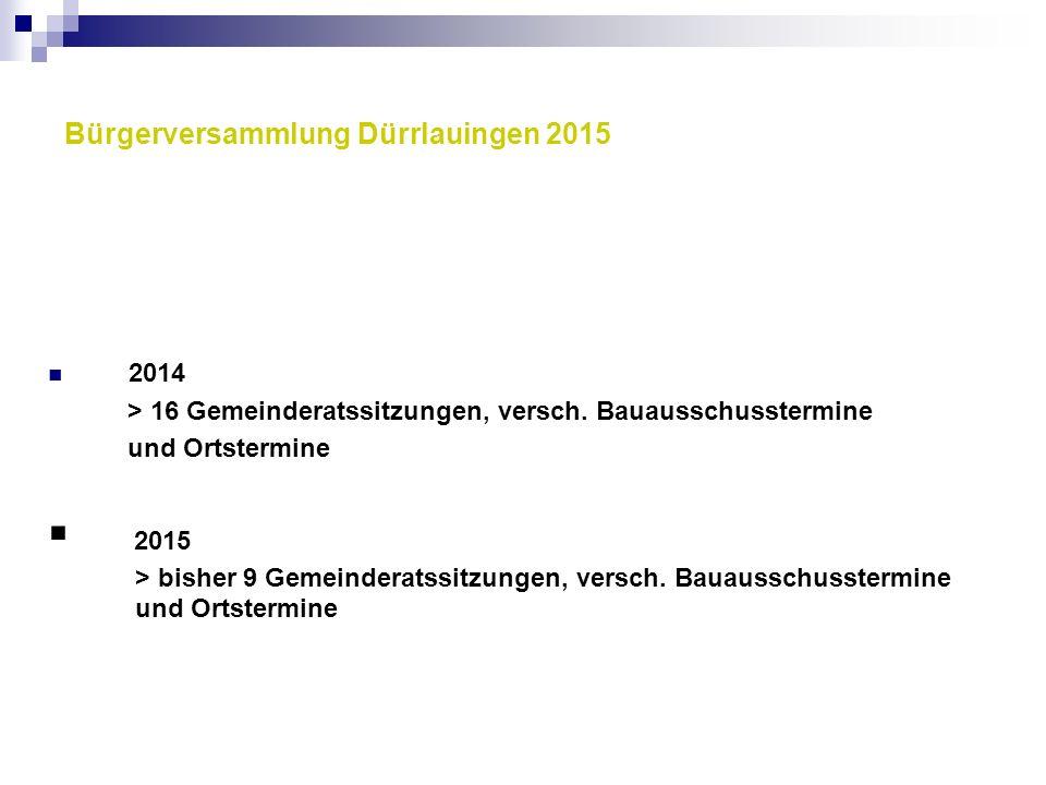Bürgerversammlung Dürrlauingen 2015 2014 > 16 Gemeinderatssitzungen, versch. Bauausschusstermine und Ortstermine  2015 > bisher 9 Gemeinderatssitzung