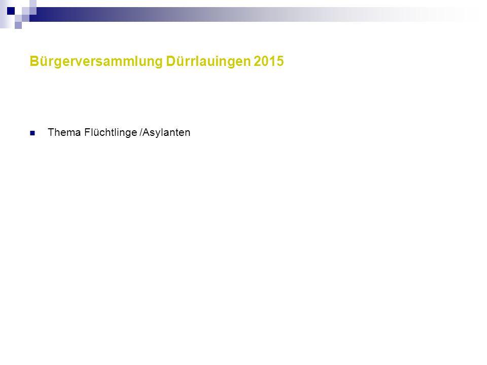Bürgerversammlung Dürrlauingen 2015 Thema Flüchtlinge /Asylanten