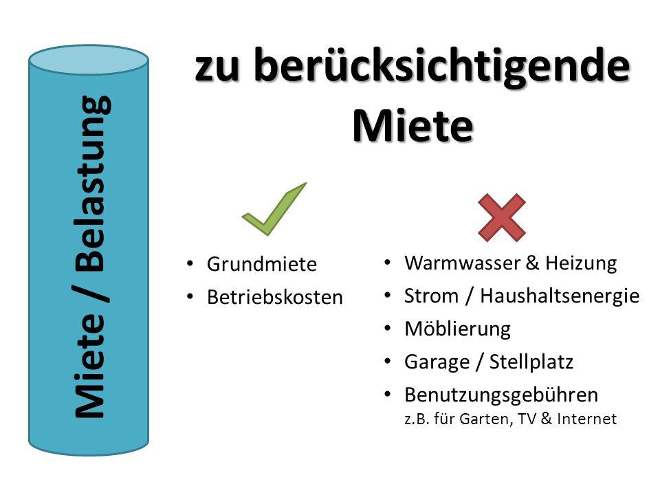 Warmwasser & Heizung Strom / Haushaltsenergie Möblierung Garage / Stellplatz Benutzungsgebühren z.B. für Garten, TV & Internet Grundmiete Betriebskost