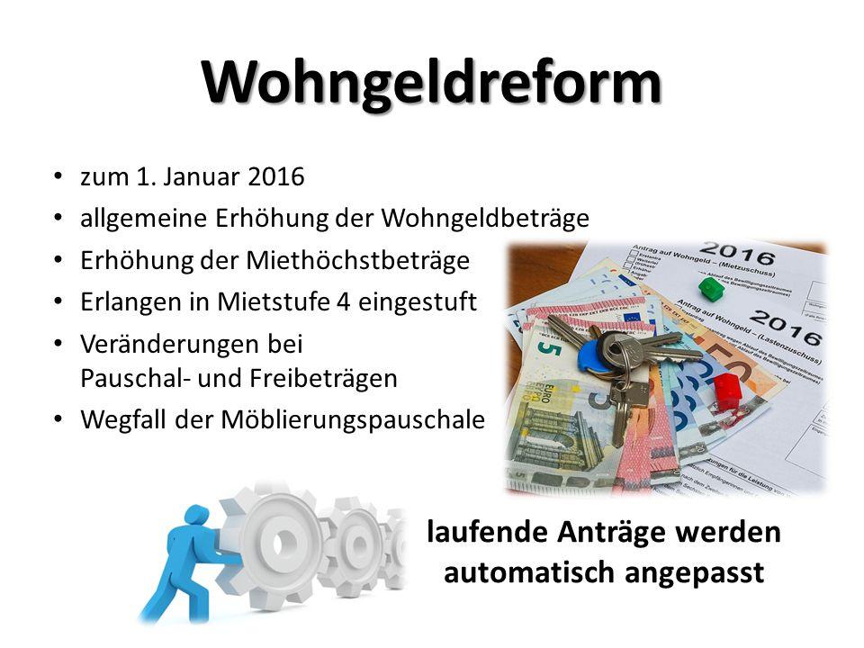 zum 1. Januar 2016 allgemeine Erhöhung der Wohngeldbeträge Erhöhung der Miethöchstbeträge Erlangen in Mietstufe 4 eingestuft Veränderungen bei Pauscha