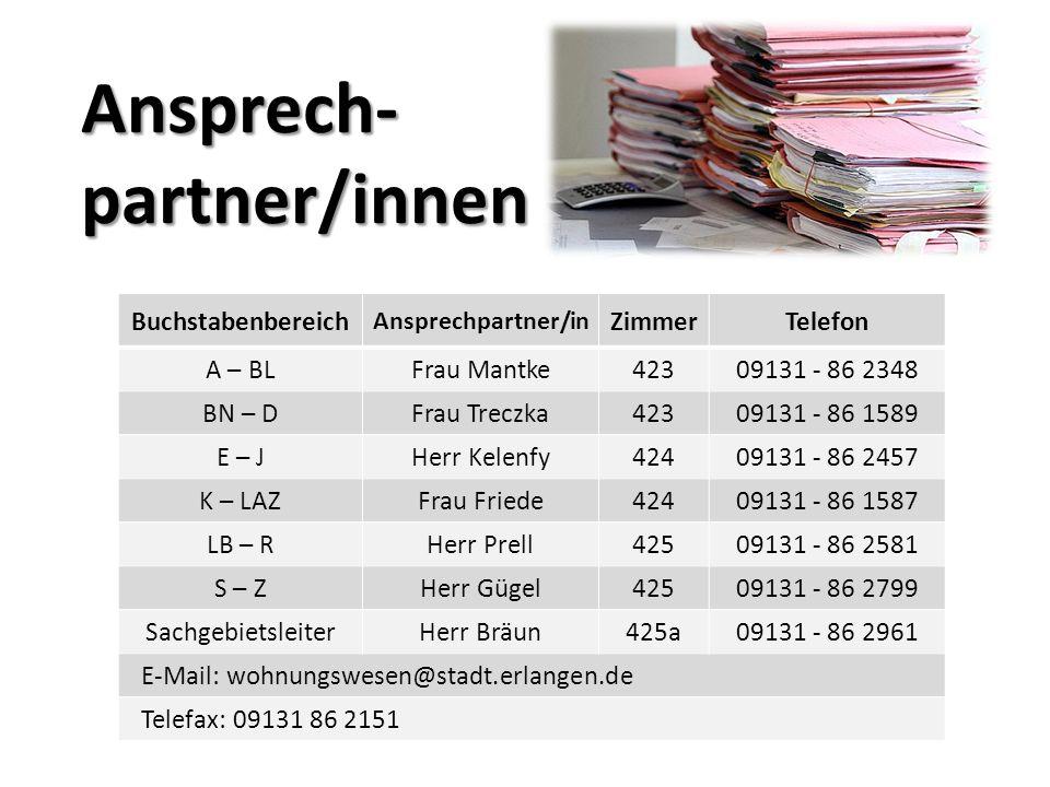 Ansprech- partner/innen Buchstabenbereich Ansprechpartner/in ZimmerTelefon A – BLFrau Mantke42309131 - 86 2348 BN – DFrau Treczka42309131 - 86 1589 E – JHerr Kelenfy42409131 - 86 2457 K – LAZFrau Friede42409131 - 86 1587 LB – RHerr Prell42509131 - 86 2581 S – ZHerr Gügel42509131 - 86 2799 SachgebietsleiterHerr Bräun425a09131 - 86 2961 E-Mail: wohnungswesen@stadt.erlangen.de Telefax: 09131 86 2151