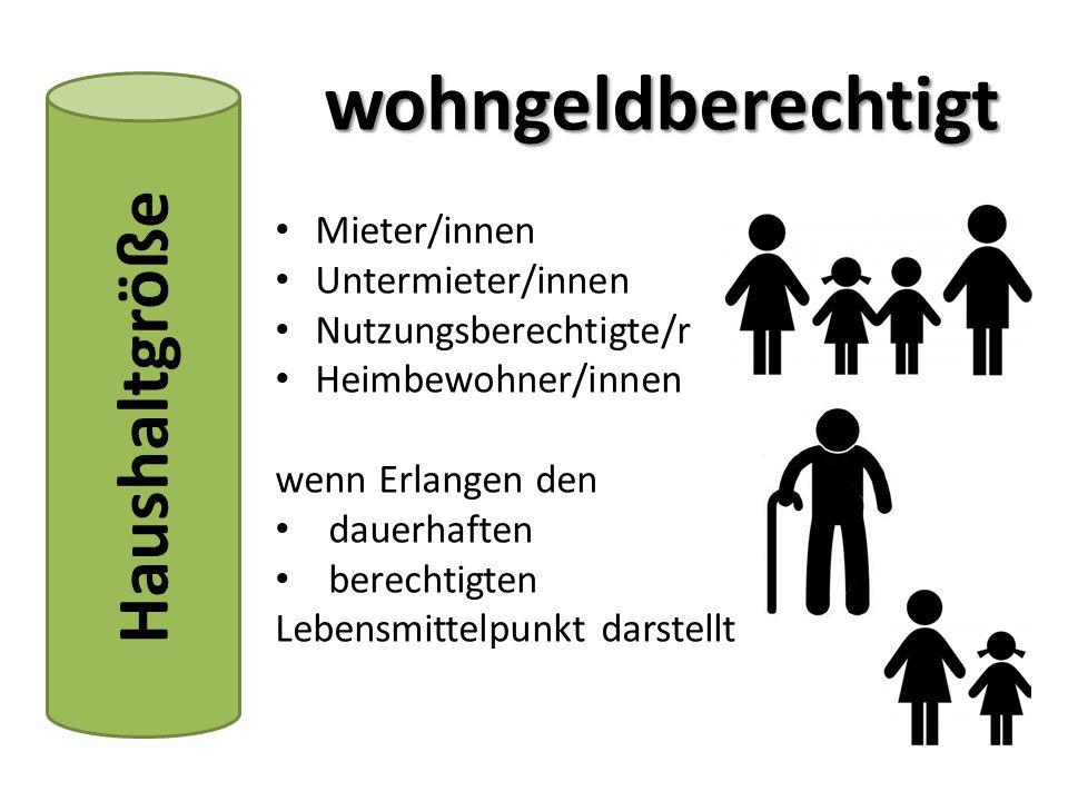 Haushaltgröße Mieter/innen Untermieter/innen Nutzungsberechtigte/r Heimbewohner/innen wenn Erlangen den dauerhaften berechtigten Lebensmittelpunkt darstellt wohngeldberechtigt