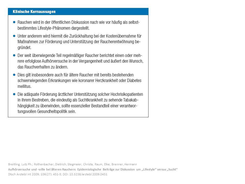 Breitling, Lutz Ph.; Rothenbacher, Dietrich; Stegmaier, Christa; Raum, Elke; Brenner, Hermann Aufhörversuche und -wille bei älteren Rauchern: Epidemio