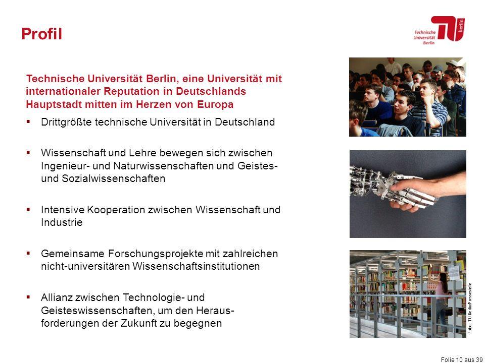 Folie 10 aus 39 Technische Universität Berlin, eine Universität mit internationaler Reputation in Deutschlands Hauptstadt mitten im Herzen von Europa