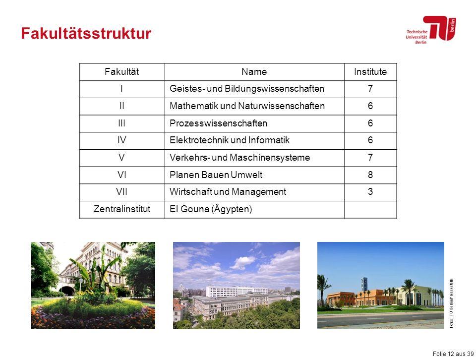Folie 12 aus 39 Fakultätsstruktur FakultätNameInstitute IGeistes- und Bildungswissenschaften7 IIMathematik und Naturwissenschaften6 IIIProzesswissensc