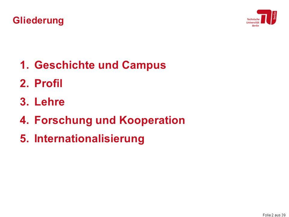 Folie 2 aus 39 Gliederung 1.Geschichte und Campus 2.Profil 3.Lehre 4.Forschung und Kooperation 5.Internationalisierung