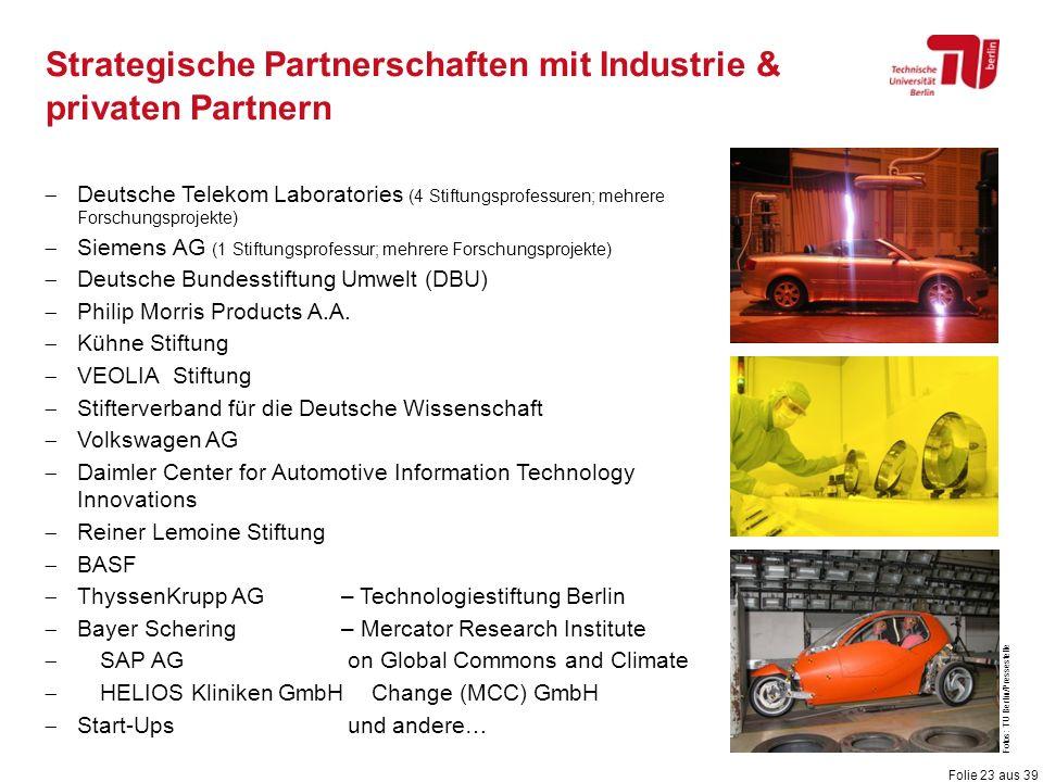 Folie 23 aus 39 Fotos: TU Berlin/Pressestelle Strategische Partnerschaften mit Industrie & privaten Partnern  Deutsche Telekom Laboratories (4 Stiftu
