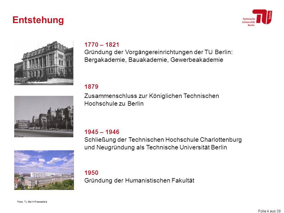Folie 4 aus 39 Entstehung 1770 – 1821 Gründung der Vorgängereinrichtungen der TU Berlin: Bergakademie, Bauakademie, Gewerbeakademie 1879 Zusammenschlu