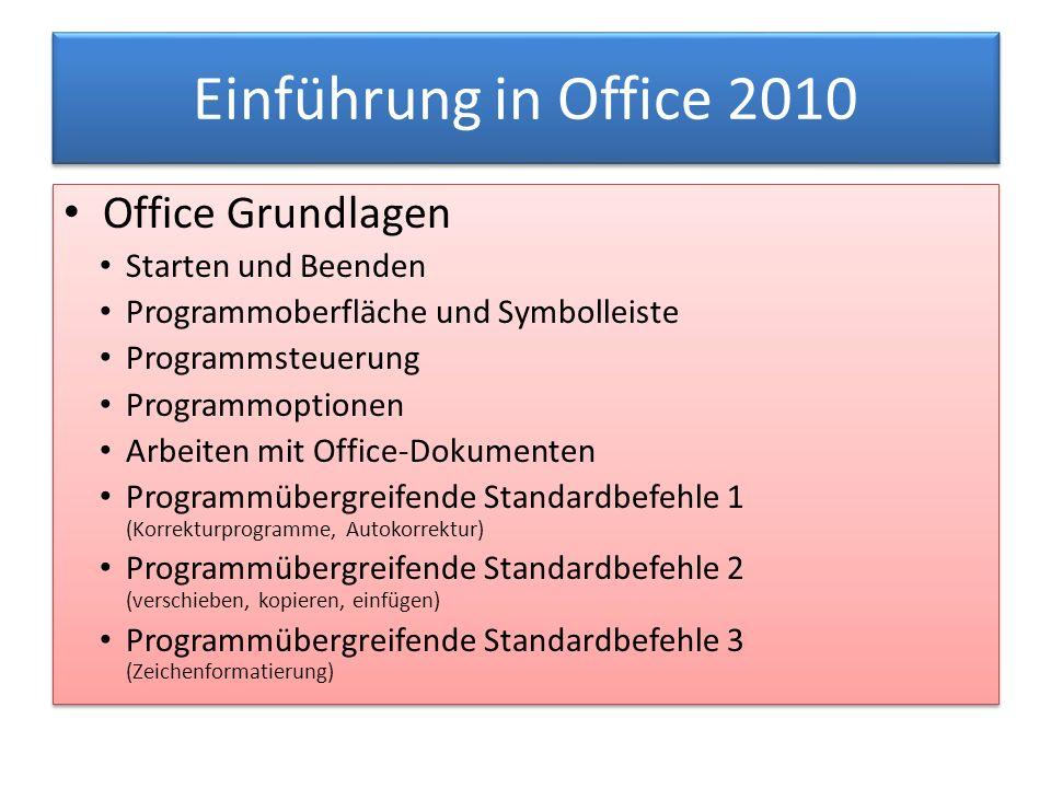 Einführung in Office 2010 Office Grundlagen Starten und Beenden Programmoberfläche und Symbolleiste Programmsteuerung Programmoptionen Arbeiten mit Of