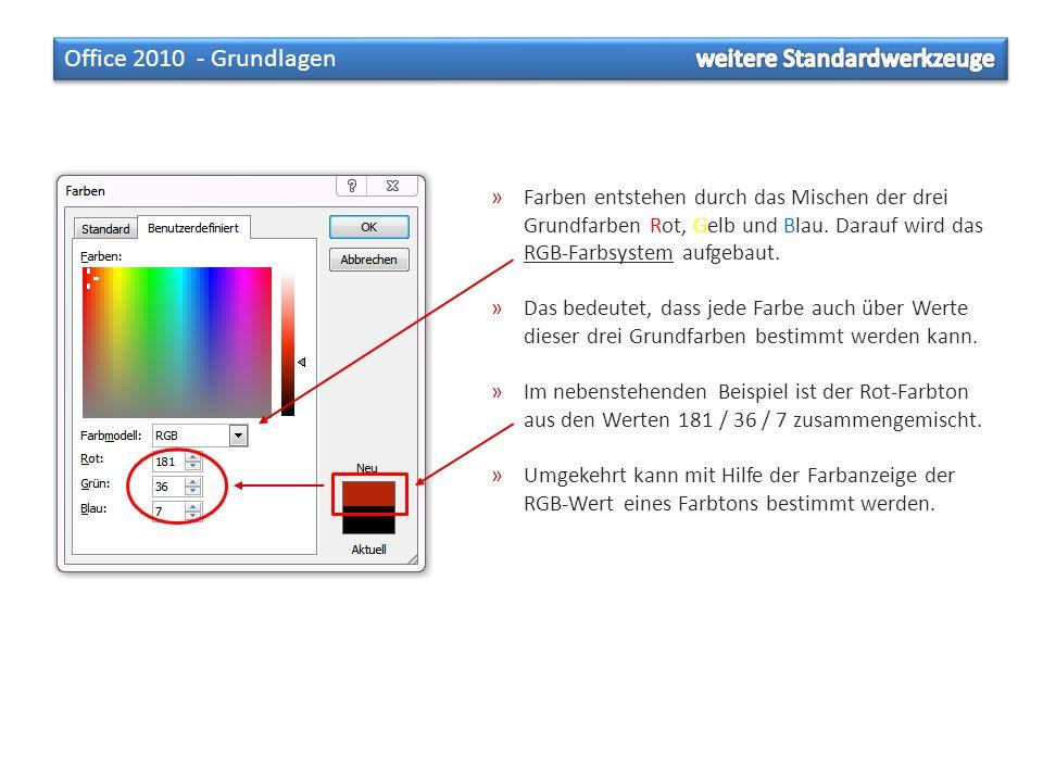»Farben entstehen durch das Mischen der drei Grundfarben Rot, Gelb und Blau. Darauf wird das RGB-Farbsystem aufgebaut. »Das bedeutet, dass jede Farbe