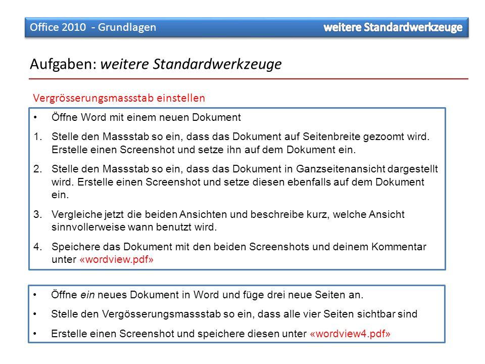 Öffne ein neues Dokument in Word und füge drei neue Seiten an. Stelle den Vergösserungsmassstab so ein, dass alle vier Seiten sichtbar sind Erstelle e
