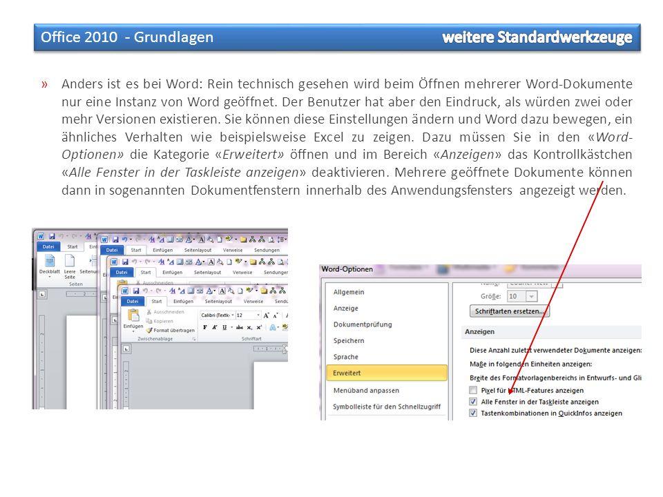 »Anders ist es bei Word: Rein technisch gesehen wird beim Öffnen mehrerer Word-Dokumente nur eine Instanz von Word geöffnet. Der Benutzer hat aber den