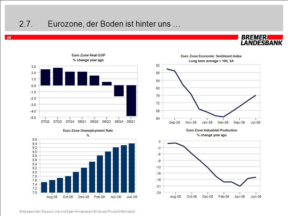 20 Bitte beachten Sie auch die wichtigen Hinweise am Ende der Produktinformation 2.7.Eurozone, der Boden ist hinter uns …