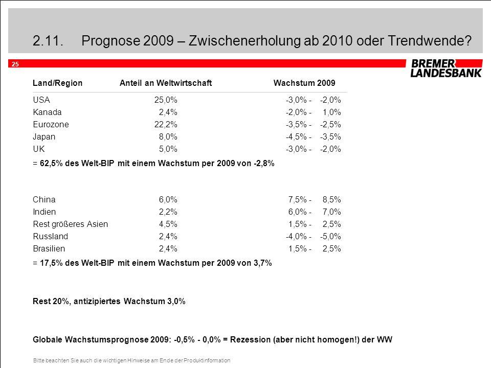 25 Bitte beachten Sie auch die wichtigen Hinweise am Ende der Produktinformation 2.11.Prognose 2009 – Zwischenerholung ab 2010 oder Trendwende? Land/R