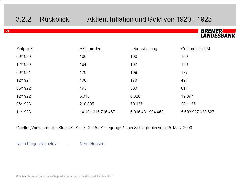 29 Bitte beachten Sie auch die wichtigen Hinweise am Ende der Produktinformation 3.2.2.Rückblick: Aktien, Inflation und Gold von 1920 - 1923 Zeitpunkt