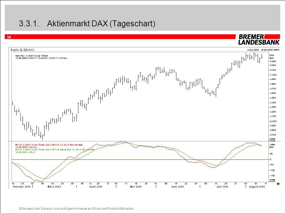 30 Bitte beachten Sie auch die wichtigen Hinweise am Ende der Produktinformation 3.3.1.Aktienmarkt DAX (Tageschart)