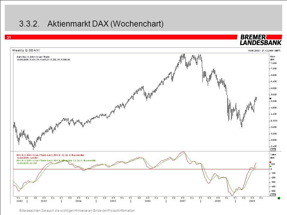 31 Bitte beachten Sie auch die wichtigen Hinweise am Ende der Produktinformation 3.3.2.Aktienmarkt DAX (Wochenchart)