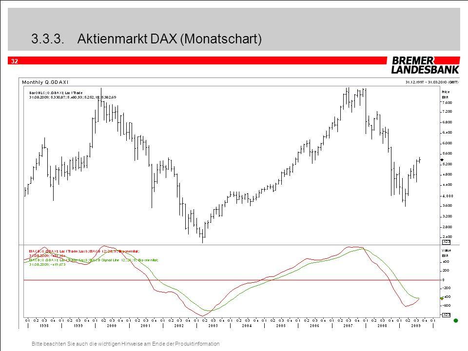32 Bitte beachten Sie auch die wichtigen Hinweise am Ende der Produktinformation 3.3.3.Aktienmarkt DAX (Monatschart)