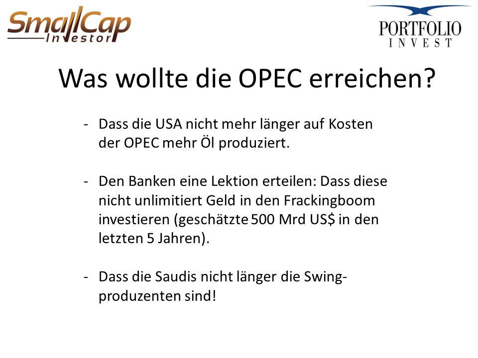 Was wollte die OPEC erreichen.