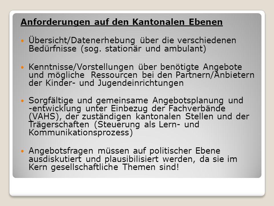 Anforderungen auf den Kantonalen Ebenen Übersicht/Datenerhebung über die verschiedenen Bedürfnisse (sog.