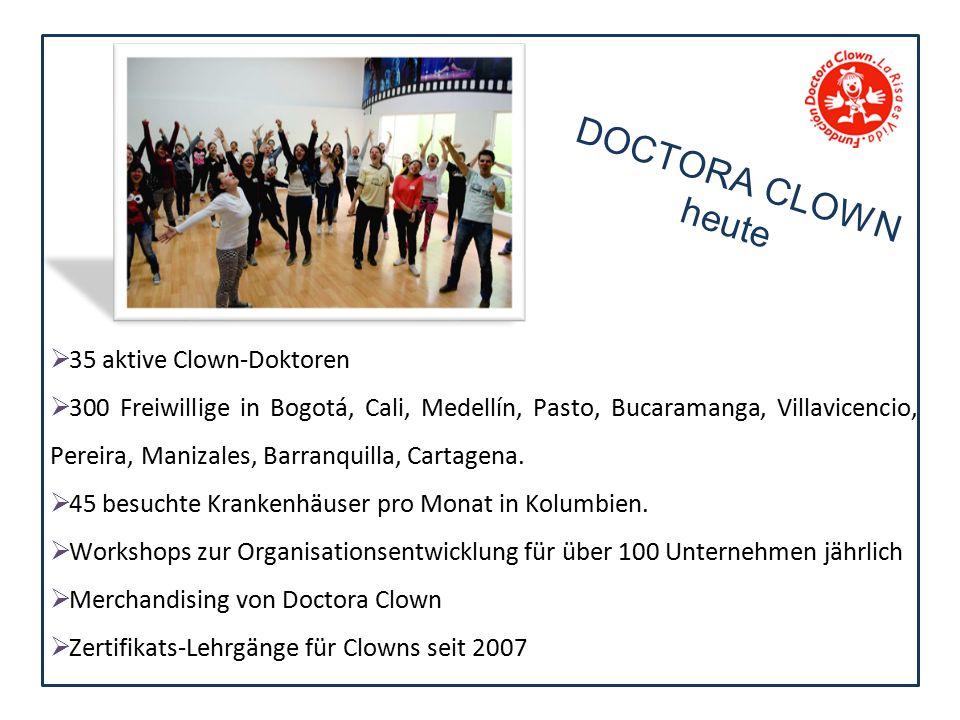  35 aktive Clown-Doktoren  300 Freiwillige in Bogotá, Cali, Medellín, Pasto, Bucaramanga, Villavicencio, Pereira, Manizales, Barranquilla, Cartagena.