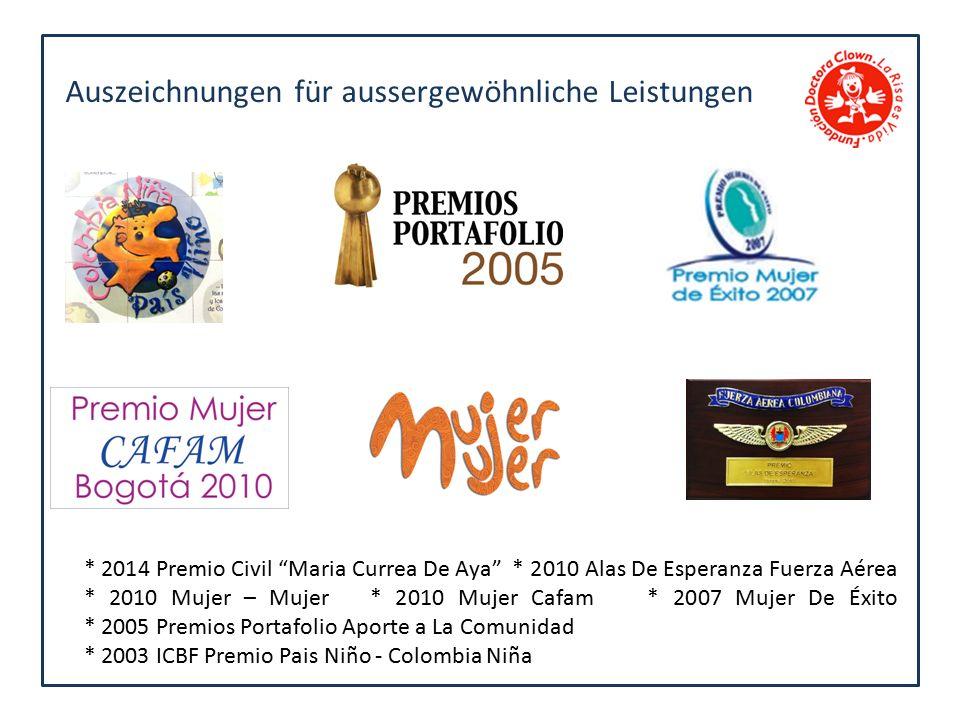 Auszeichnungen für aussergewöhnliche Leistungen * 2014 Premio Civil Maria Currea De Aya * 2010 Alas De Esperanza Fuerza Aérea * 2010 Mujer – Mujer * 2010 Mujer Cafam * 2007 Mujer De Éxito * 2005 Premios Portafolio Aporte a La Comunidad * 2003 ICBF Premio Pais Niño - Colombia Niña