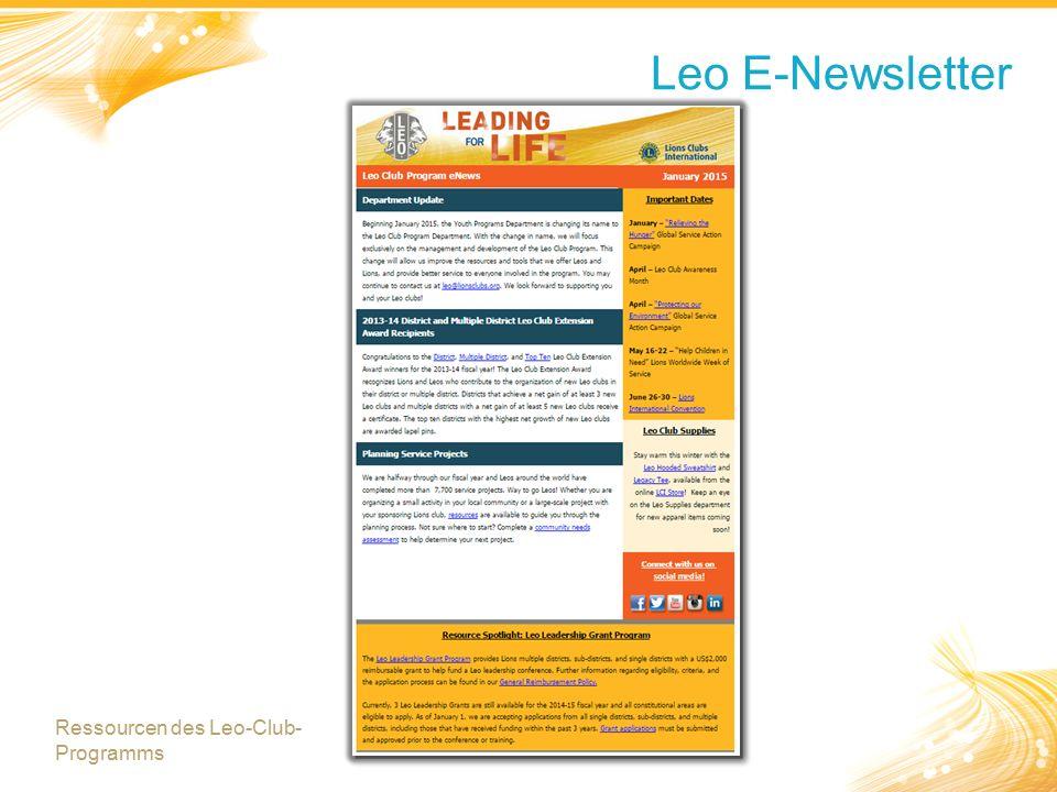 Leo E-Newsletter Ressourcen des Leo-Club- Programms