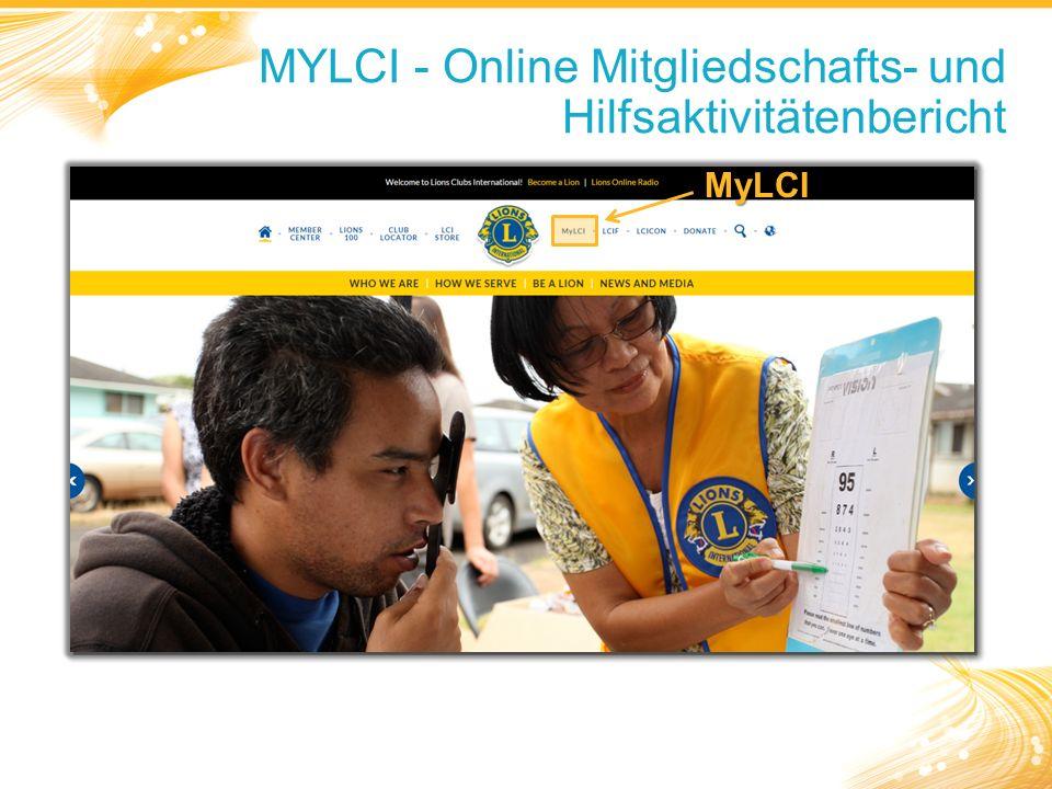 MYLCI - Online Mitgliedschafts- und Hilfsaktivitätenbericht MyLCI