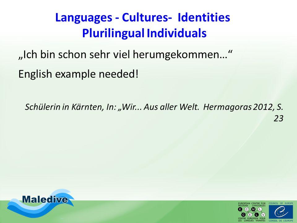 """Languages - Cultures- Identities Plurilingual Individuals """"Ich bin schon sehr viel herumgekommen…"""" English example needed! Schülerin in Kärnten, In: """""""