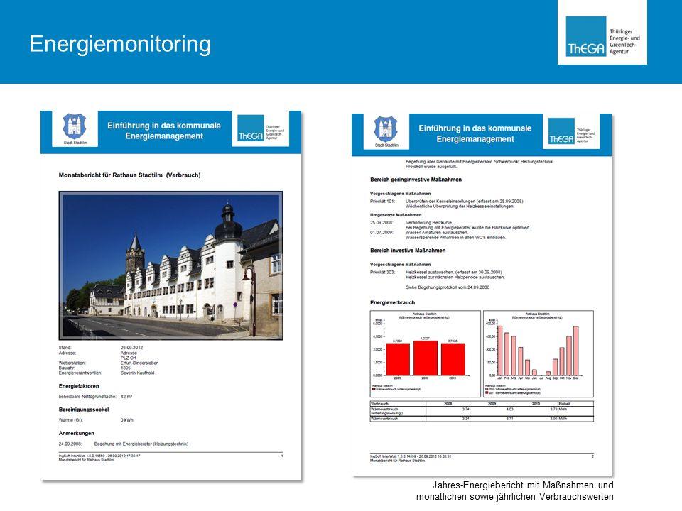 Jahres-Energiebericht mit Maßnahmen und monatlichen sowie jährlichen Verbrauchswerten Energiemonitoring